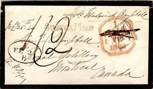 Canada 1844 Transatlantic Cover W/Handstamp Arnell A.02 (1/4d Cy)