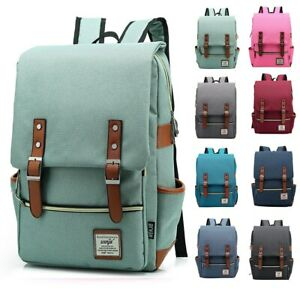 Fashion Vintage Laptop Backpack Women Canvas Bags Men Canvas Travel Backpacks