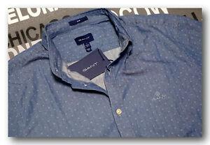 "GANT Hemd Shirt  "" Indigo Dobby Slim ""  Gr.L  sportliches Hemd im Jeans-Look"