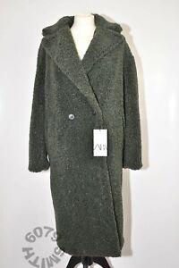 BNWT Zara Army Green Faux Fur Coat