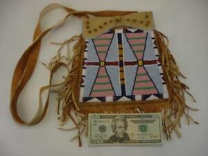 Beaded Native American Crow Indian Medicine Bag Leather Fringe Cross Body Large