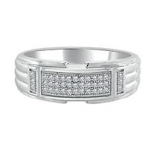 Mens Engagement Wedding Band Ring 0.16 Ct Round Sim Diamond 14K White Gold Over
