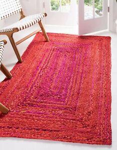 Rug 100% cotton handmade modern carpet reversible rustic look area decor rug