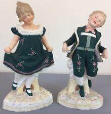 Antique Gebruder Heubach Figurines Matching Boy Girl Pair Dancing