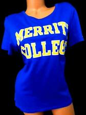 Champion royal blue yellow white merrit college logo round neck t-shirt top XL