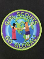 """Vintage 3"""" Girl Scouts Go Global! Patch Badge"""