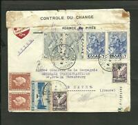 GREECE 1938 CENSOR AIR COVER TO FRANCE (LE HAVRE) PIREO CANCEL VF