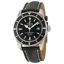 Breitling Superocean 42 Automatic Black Dial Black Leather Mens Watch