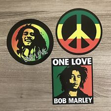 Bob Marley One Love Reggae Peace Sign Vinyl Sticker Set - Free Shipping