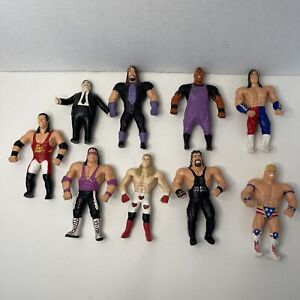 WWF Bend Ems 9 Figure Lot Loose WWE Vintage Rare Undertaker 123 Kid Micheals