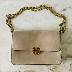 TORY BURCH Solid Tan Suede Leather Shoulder Bag
