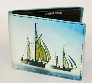 Leather Retro Gents Card Wallet with Sailing Design By Golunski