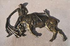 Matador Bullfighter and Bull Relief Sculpture Mid Century 1968