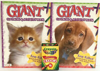 New Kittens & Puppies Giant Coloring & Activity Books + Crayons Games Mazes Art