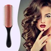 Cushion Brush Bristles 9-Row Detangle Distribute Barber Hair Curly Womens