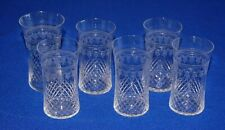 More details for antique 6 edwardian etched & cut tumbler glasses, 9.5cms in height.