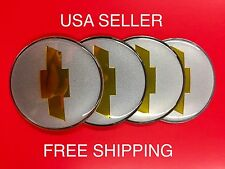 Chevy Bowtie 4Pcs Silver 65mm Domed Emblem Wheel Center Hub Cap Decals Stickers