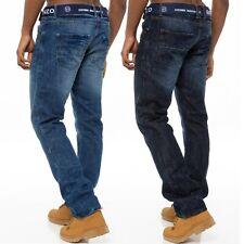 Enzo Herren Designer Gerades Bein Jeans Regular Fit Gratis Gürtel König Größen