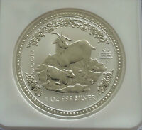 2003 NGC MS69 Australia 1 Oz Silver Lunar Year of the Goat $1 Coin Bullion