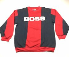 c680606a Vintage 90's Hugo Boss Big Spell Out Striped Sweater Red Black Size L-XL