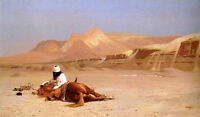 Wonderful Oil painting Jean-Leon Gerom - The Arab and his Steed red horse canvas