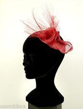 Chapeau de cérémonie femme pince RUE du BAG mariage rouge soirée French red hat