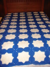Handmade Handcrafted Blue White Granny Square Crochet Afghan Throw Blanket