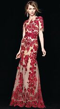 $1295 Marchesa Notte Embroidered Red Rose Lace Floral Applique Long Gown Dress 2