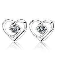Shine Heart Swirl Stone Stud Earrings 925 Sterling Silver Womens Jewellery Gift