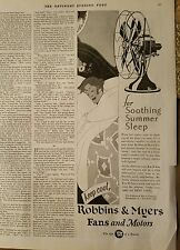 1928 Robbins & Myers fans and motor circulating fan soothing summer sleep ad