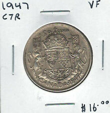 Canada 1947 Silver 50 Cents Curved 7 Right VF Lot#3