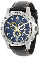 Nautica N19608G Sport Blue Dial Leather Strap Chronograph Men's Watch