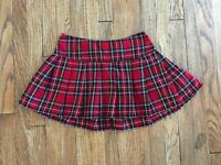Royal Bones Tartan Plaid Short Mini Skirt Red Goth Punk Pleated Daang Grunge S