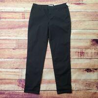 Liz Claiborne Boyfriend Skinny Chino Dress Pants Womens Size 4 Solid Black NWT