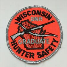 Vtg Wisconsin State DNR Hunter Safety Round Embroidered Patch Bow Firearm