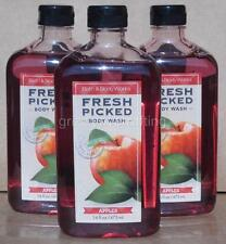 (3) Bath and Body Works [ FRESH PICKED APPLES ] Shower Gel Wash