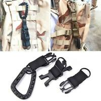 1//3PC Outdoor Tactical Webbing Molle Key Hook Hanging Carabiner Clip Belt P7W4