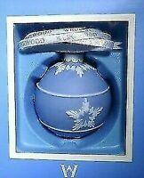 NIB WEDGWOOD BLUE JASPERWARE ICON BALL CHRISTMAS ORNAMENT