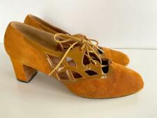 Vintage 1960's designer David Evins for I Magnin rust orange brown shoes 8.5 B