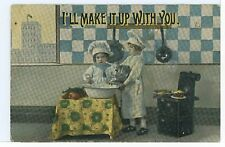 """""""I'll Make it Up to You"""" Cute Kids Baking Bread Rolls Antique PC ca. 1910s"""