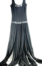 Vintage John Murrough With Tags Long Dress SMALL Black Leather Sheer Flowing