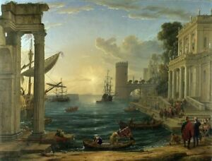 Handmade Oil Painting repro Claude Lorrain The Embarkation of the Queen of Sheba