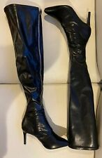 """Wild Pair Thigh High 26"""" Glossy Soft Faux Leather Stilettos Boots ZIP Up Sz 7"""