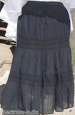 Black Adini 100% Cotton Crinkle Crepe Skirt with Crochet Embroidery Size Large