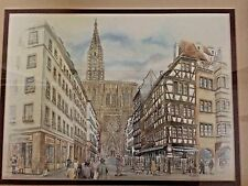 """VINTAGE COLORED PRINT REPRO. OF STRAUSBORG CATHEDRAL SIGNED B VOZ 19"""" x 22"""""""