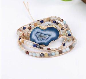 Blue Lace Agate Tree of Life Wrap Bracelet