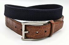 BRIONI Genuine Alligator Deep Navy Woven Elastic Belt 36/95 Made in Italy MINT