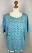 Marks and Spencer Top 14 Classic Turquoise Broderie Cotton BNWT