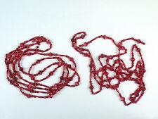 Vintage Red Bead Christmas Tree Garland Plastic