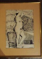 DESSIN ORIGINAL NU FEMME ADRIEN SEGUIN ENCRE EROTIQUE 1954